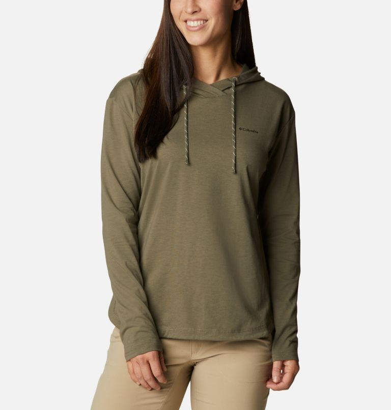 Sun Trek™ Hooded Pullover | 397 | S Women's Sun Trek™ Hooded Pullover, Stone Green, front
