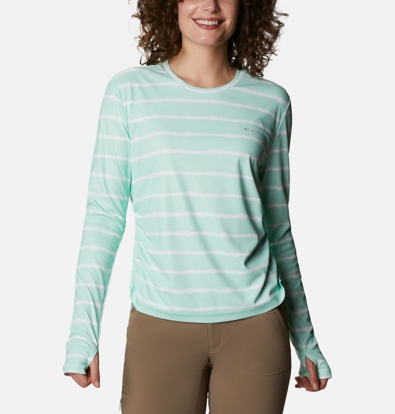 W Sun Deflector Summerdry™ LS Shirt | 368 | M Women's Sun Deflector Summerdry™ Long Sleeve Shirt, Mint Cay Tie Dye Stripe, front