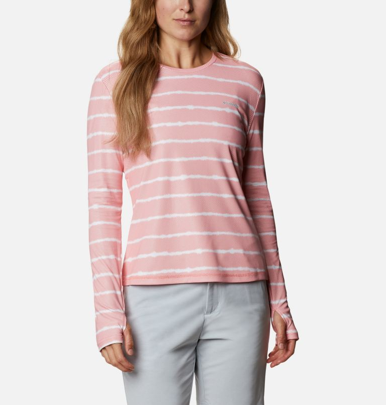W Sun Deflector Summerdry™ LS Shirt   699   S Women's Sun Deflector Summerdry™ Long Sleeve Shirt, Salmon Tie Dye Stripe, front