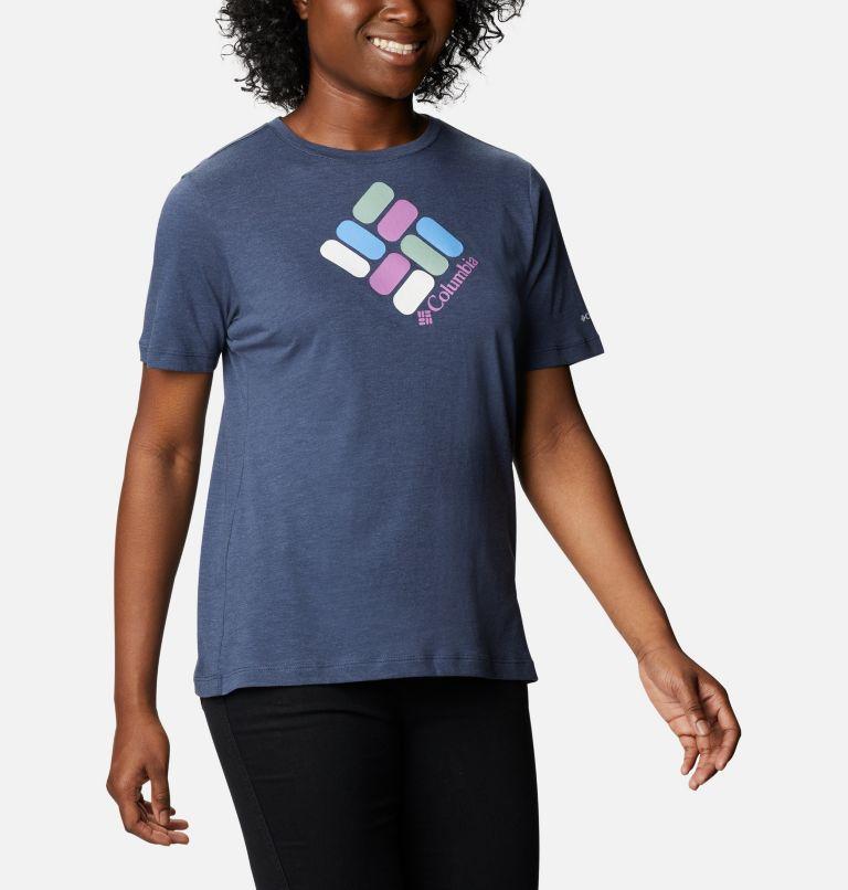 Bluebird Day™ Relaxed Crew Neck | 467 | M Women's Bluebird Day™ Relaxed Crew Neck Shirt, Nocturnal Heather, Multi Gem Print, a3
