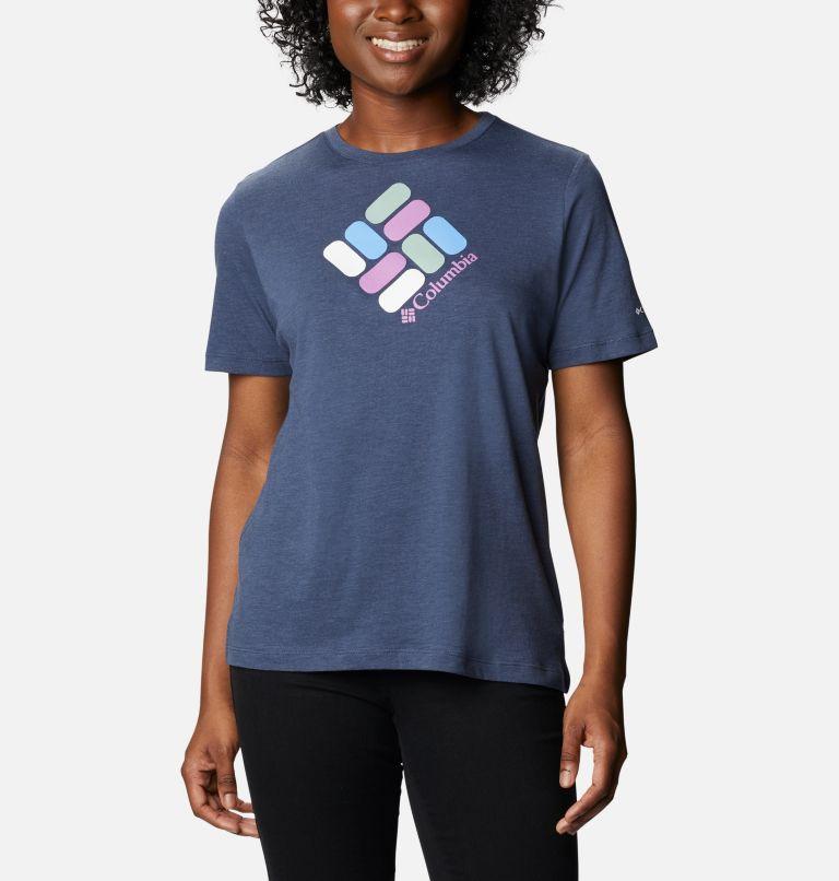 Bluebird Day™ Relaxed Crew Neck | 467 | M Women's Bluebird Day™ Relaxed Crew Neck Shirt, Nocturnal Heather, Multi Gem Print, front