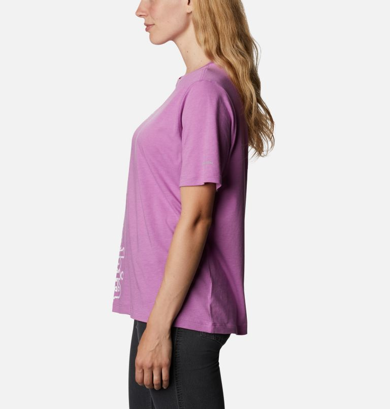 Bluebird Day™ Relaxed Crew Neck   605   XS Women's Bluebird Day™ Relaxed Crew Neck Shirt, Blossom Pink Heather, Outlined Brand, a1