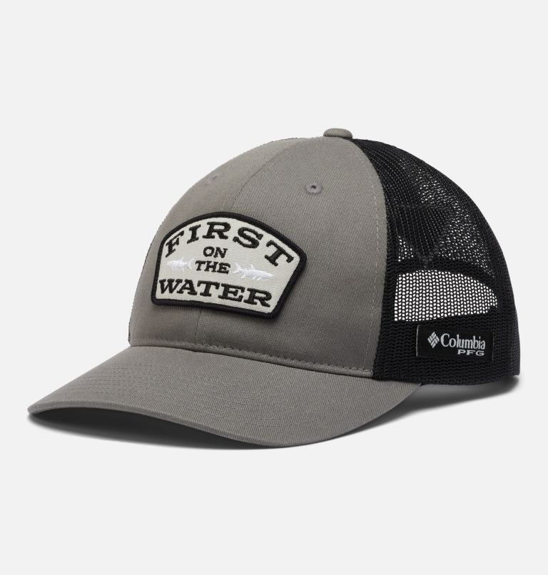 PFG Trucker™ Snap Back | 029 | O/S PFG Trucker™ Snap Back Cap, Titanium, Black, First Water Patch, front