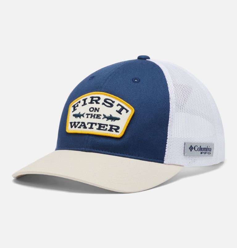 PFG Trucker™ Snap Back   469   O/S PFG Trucker™ Snap Back Cap, Carbon, Stone, First Water Patch, front