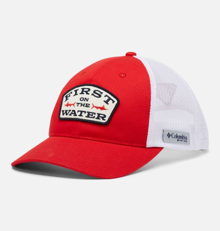 PFG Trucker™ Snap Back   696   O/S PFG Trucker™ Snap Back Cap, Red Spark, White, First Water Patch, front