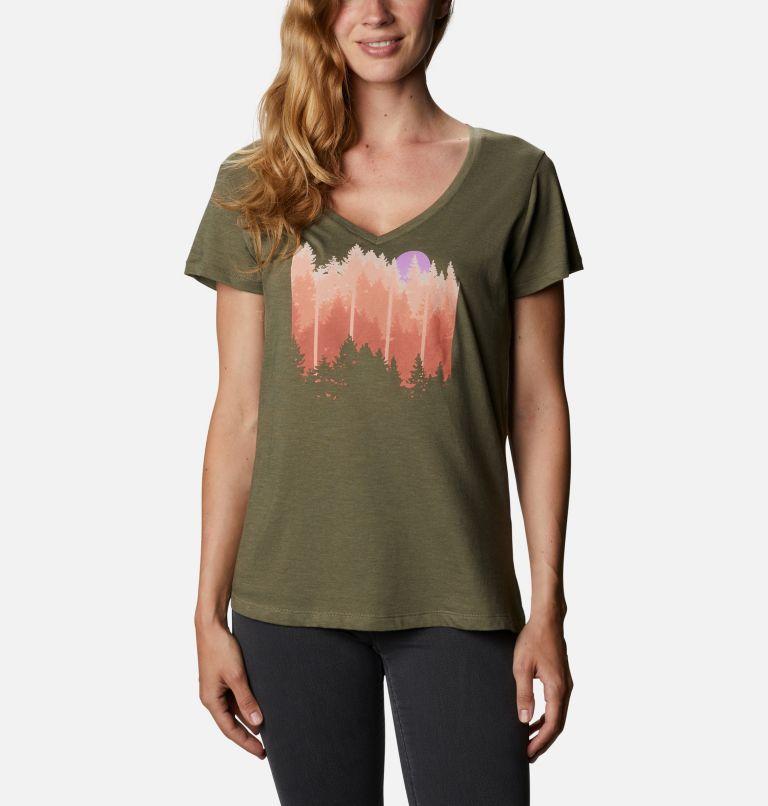 Daisy Days™ V Neck Graphic Tee | 397 | M Women's Daisy Days™ V-Neck Graphic T-Shirt, Stone Green Heather, Shifting Shadows, front