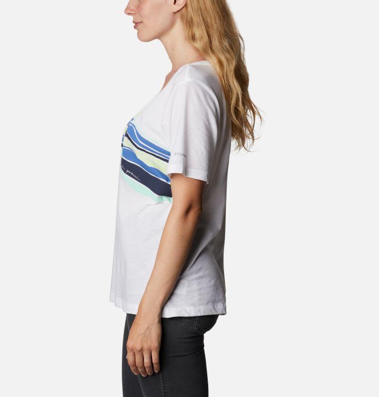 Bluebird Day™ Relaxed V Neck | 100 | XL Women's Bluebird Day™ Relaxed V-Neck Shirt, White, Striped Hills, a1