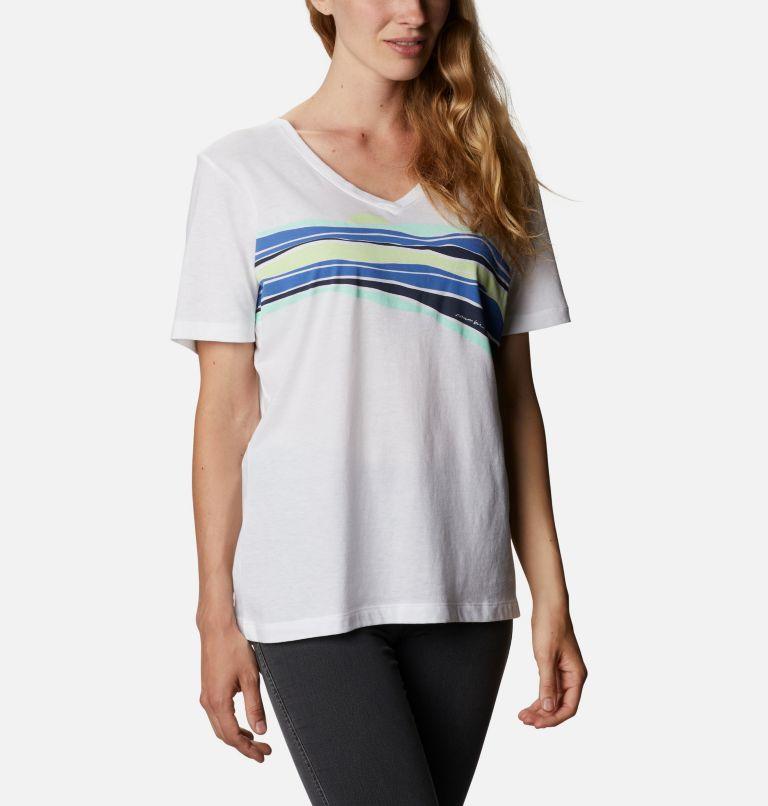 Bluebird Day™ Relaxed V Neck | 100 | XXL Women's Bluebird Day™ Relaxed V-Neck Shirt, White, Striped Hills, a3