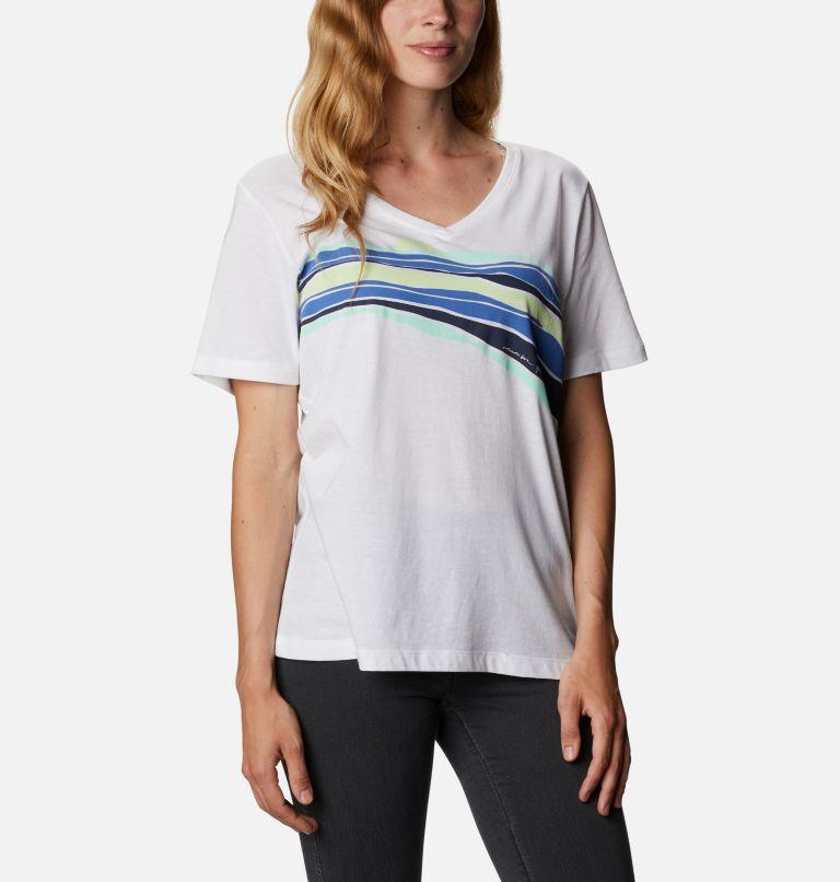 Bluebird Day™ Relaxed V Neck | 100 | XL Women's Bluebird Day™ Relaxed V-Neck Shirt, White, Striped Hills, front