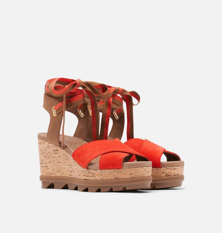 JOANIE™ II HI ANKLE LACE | 854 | 9.5 Womens Joanie™ II Hi Ankle Lace Wedge Sandal, Signal Red, 3/4 front