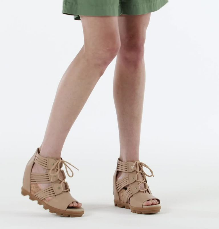 JOANIE™ II LACE HUARACHE | 246 | 10 Womens Joanie™ II Lace Huarache Wedge Sandal, Honest Beige, video