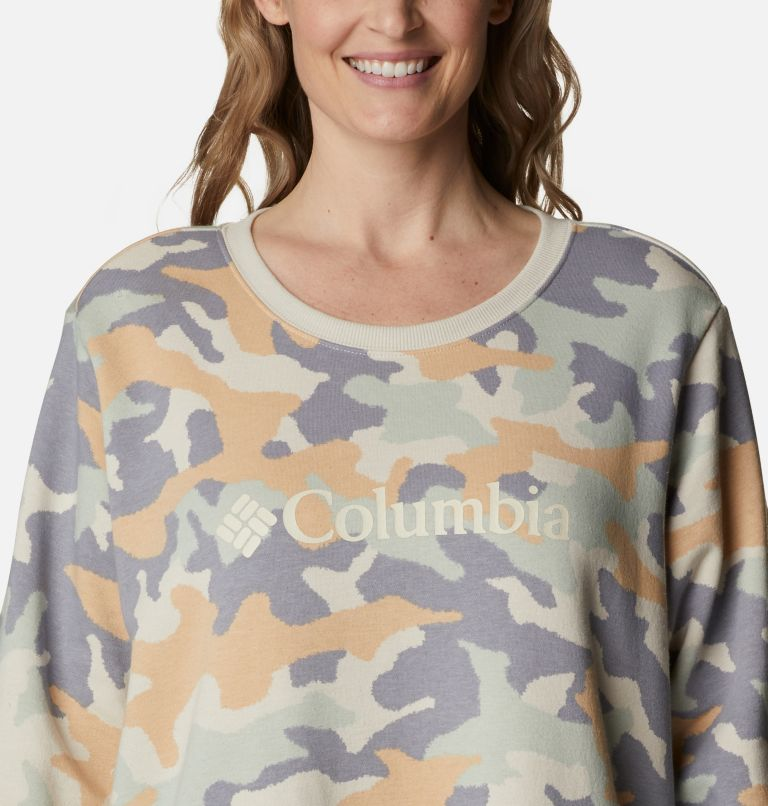 Columbia Logo™ Printed Crew | 102 | 3X Women's Columbia™ Logo Printed Crew - Plus Size, Fawn Trad Camo Heather, a2