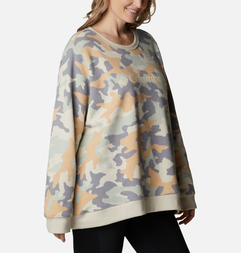 Columbia Logo™ Printed Crew | 102 | 3X Women's Columbia™ Logo Printed Crew - Plus Size, Fawn Trad Camo Heather, a3