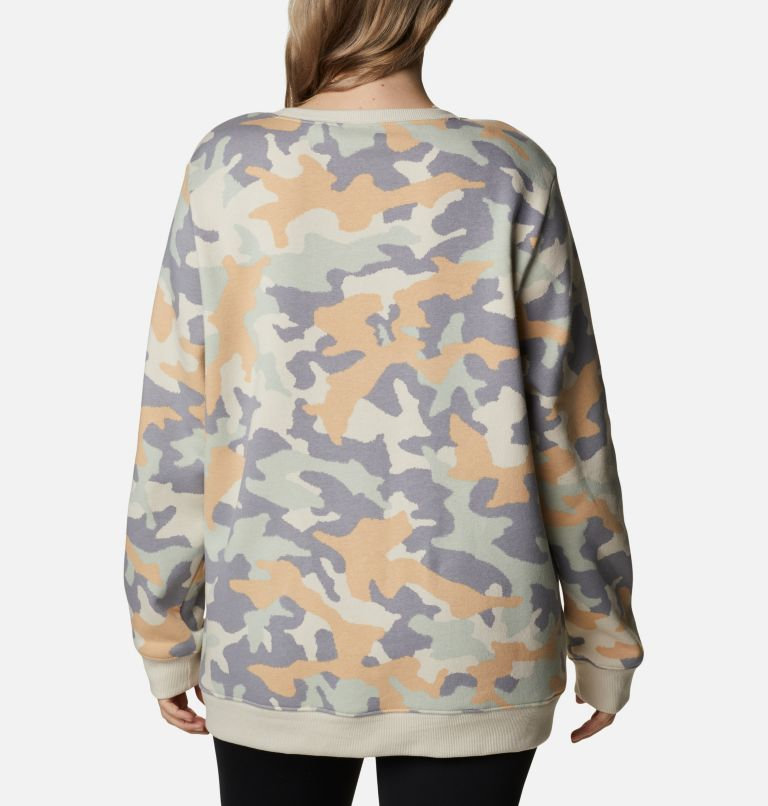 Columbia Logo™ Printed Crew | 102 | 3X Women's Columbia™ Logo Printed Crew - Plus Size, Fawn Trad Camo Heather, back