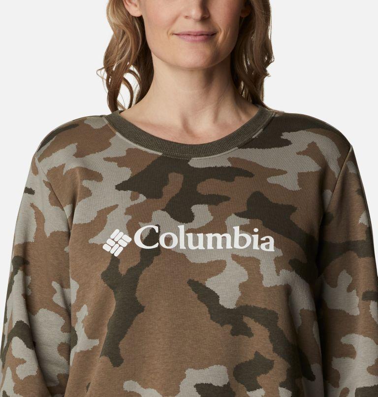 Columbia Logo™ Printed Crew | 397 | 1X Women's Columbia™ Logo Printed Crew - Plus Size, Stone Green Trad Camo Heather, a2