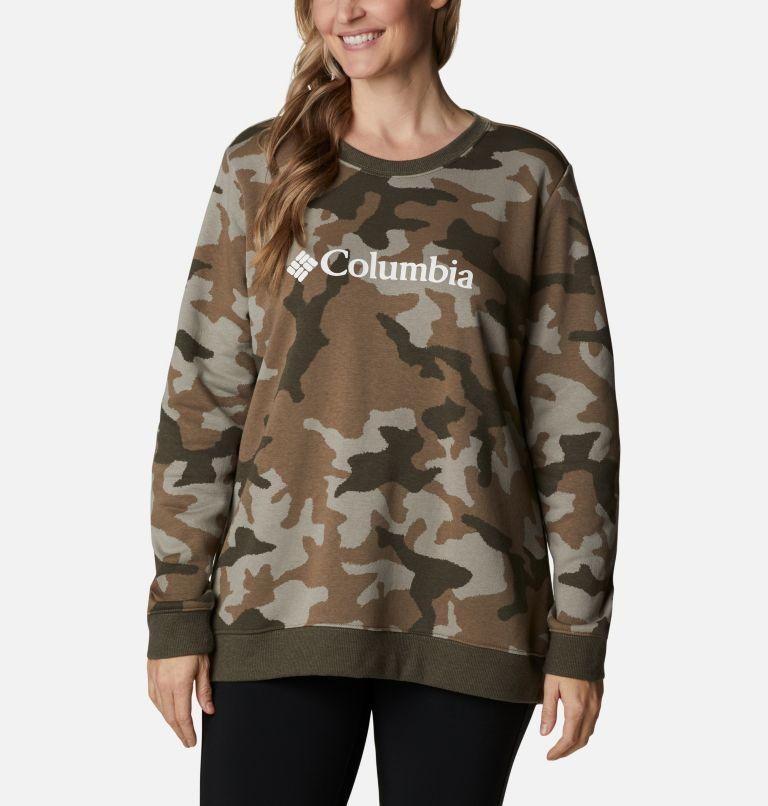 Columbia Logo™ Printed Crew | 397 | 1X Women's Columbia™ Logo Printed Crew - Plus Size, Stone Green Trad Camo Heather, front