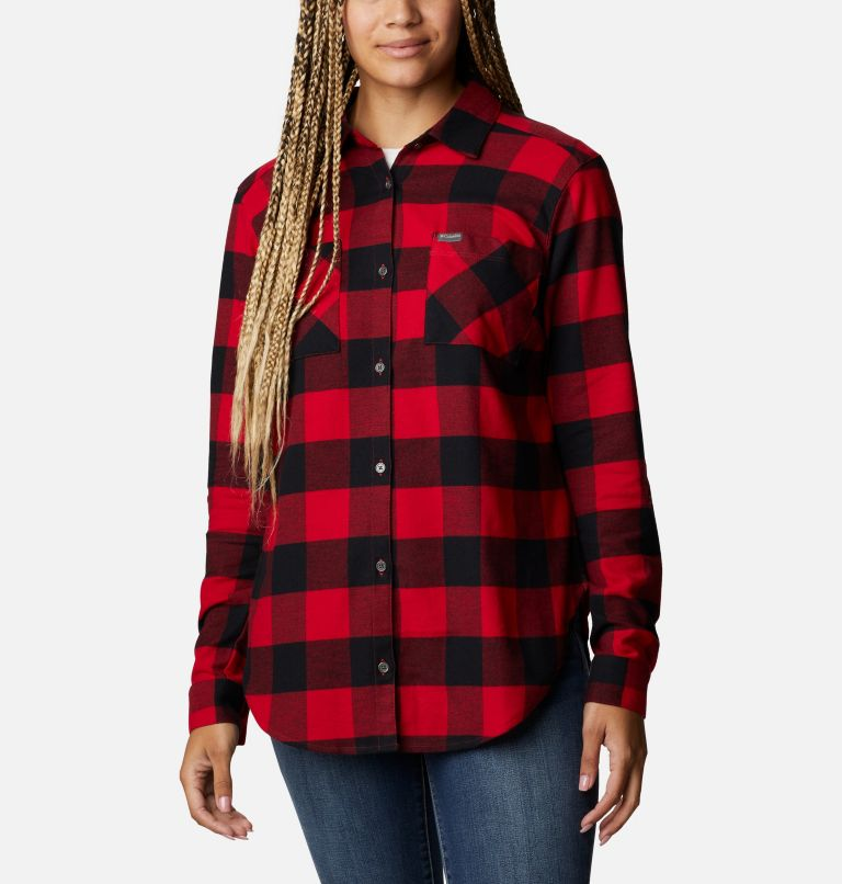 Anytime™ Stretch LS Shirt | 613 | XL Women's Anytime™ Stretch Long Sleeve Shirt, Mountain Red Buffalo Check, front
