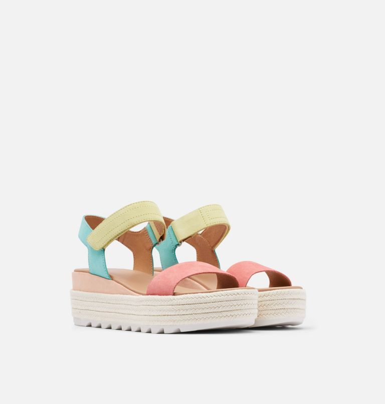 CAMERON™ FLATFORM SANDAL | 810 | 10.5 Womens Cameron™ Flatform Wedge Sandal, Hot Coral, Sea Salt, 3/4 front