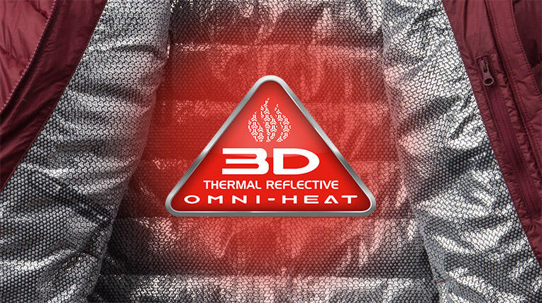 Omni-Heat 3D thermal reflective with play button linking to video on the technology.