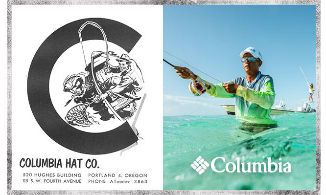 Vintage image of Columbia Hat Company and a modern fisherman wearing Columbia clothing.