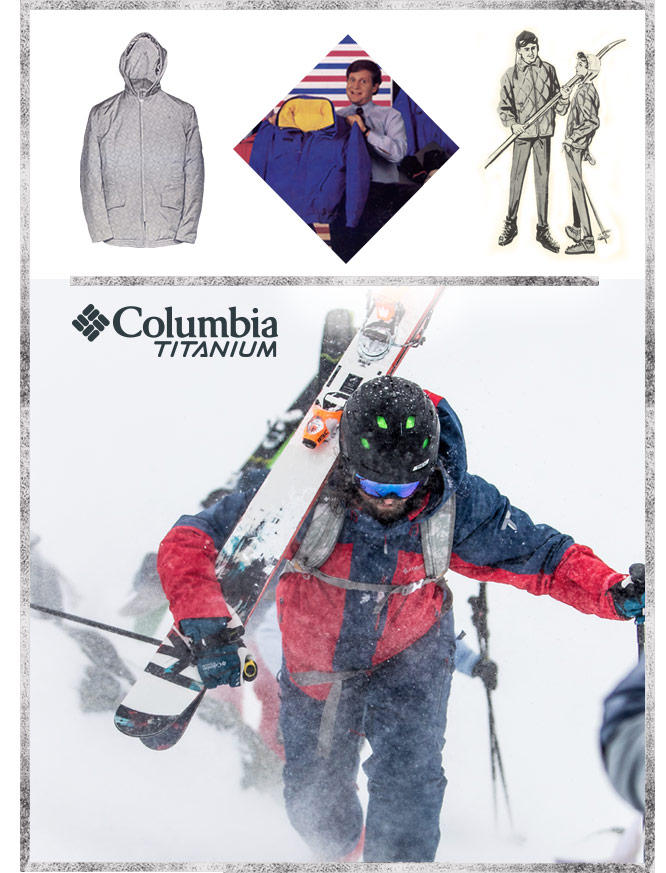 A modern skier climbing uphill during blizzard along with vintage photography and illustrations of outerwear.