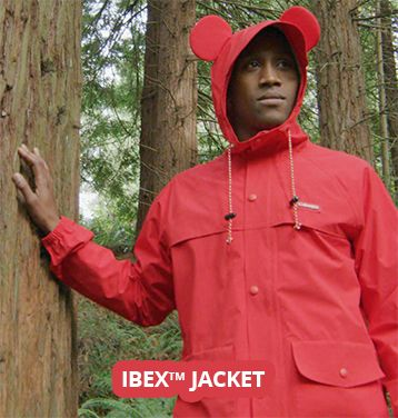 A man in an Ibex jacket inspired by Mickey Mouse.