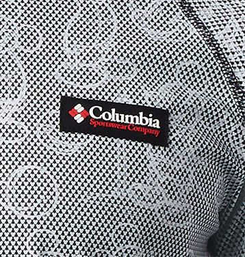 Close-up of Mickey Mouse pattern on a Columbia shirt.