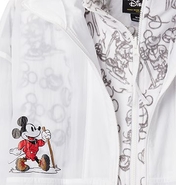 Detail shot of translucent interchange apparel inspired by Mickey Mouse.