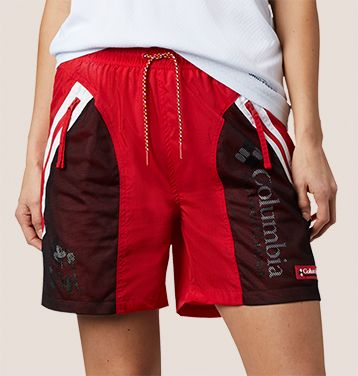 Close-up of Columbia shorts inspired by Mickey Mouse.