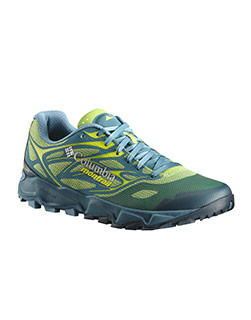 Light green, blue, and white Trans Alps F.K.T. II Shoe.