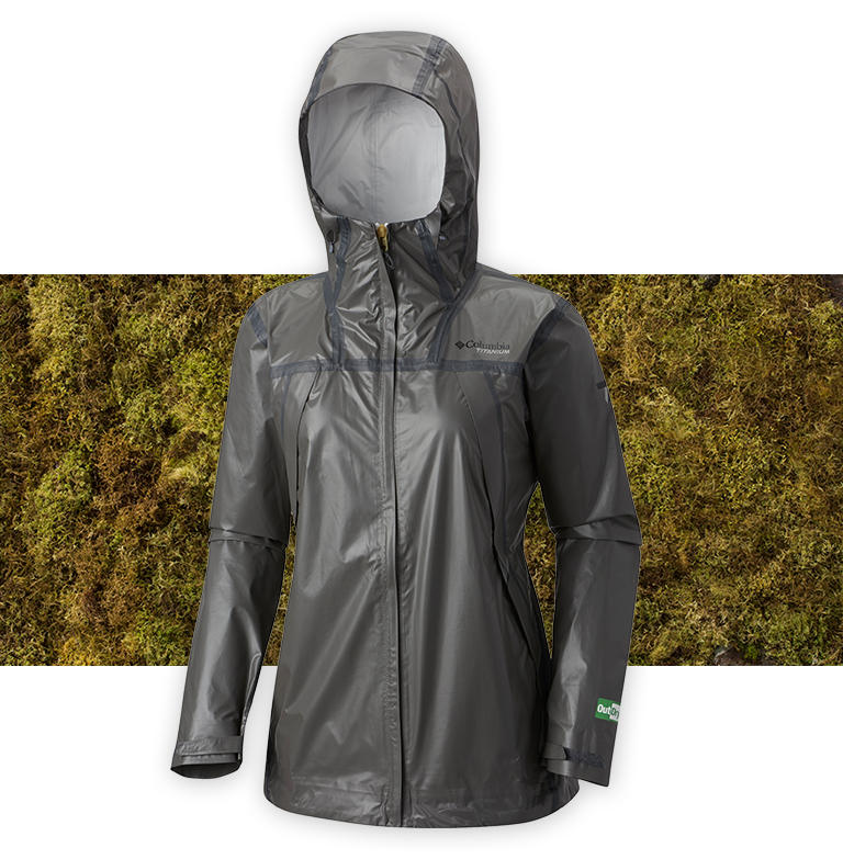 A charcoal OutDry Extreme Eco Tech Shell jacket on a grassy background.