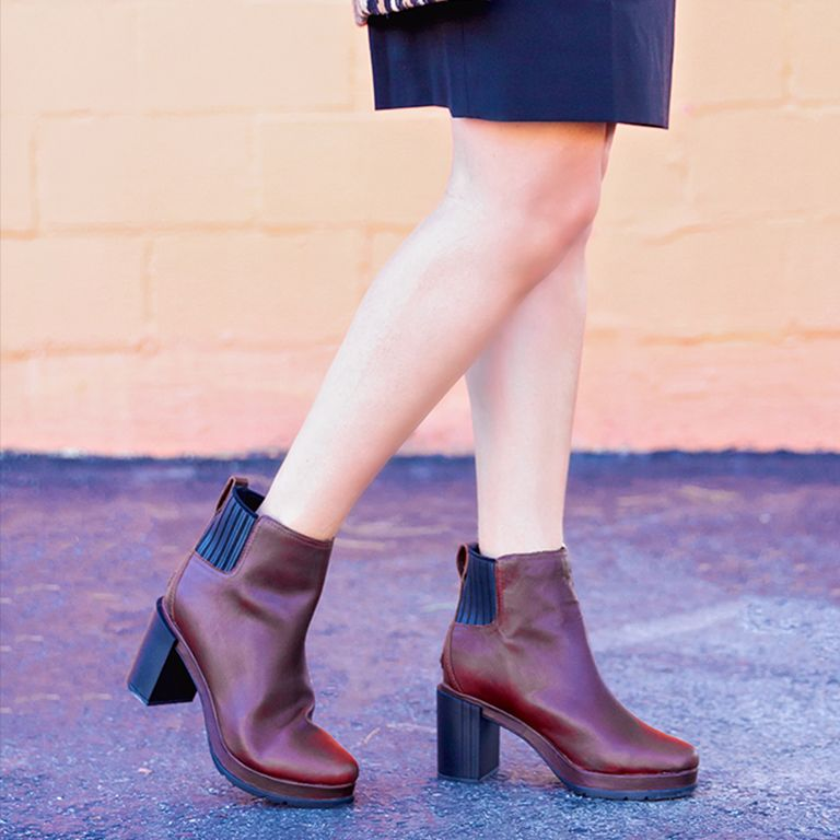 Closeup of a woman wearing burro Margo Chelsea boots