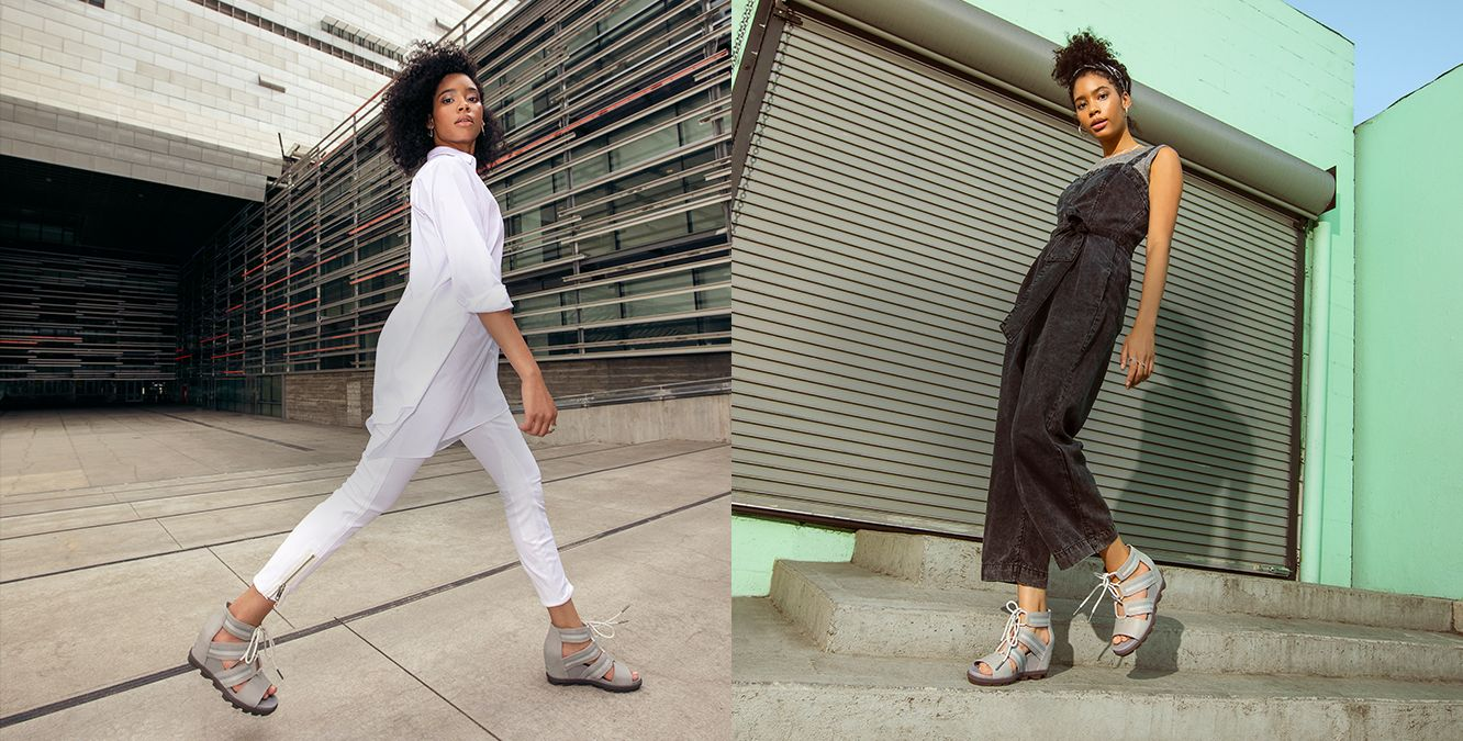 WEEK DAY, WEEK END, and images of woman wearing Joanie Wedge sandals in two different outfits