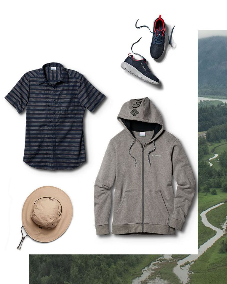 Assorted outdoor casual gear.