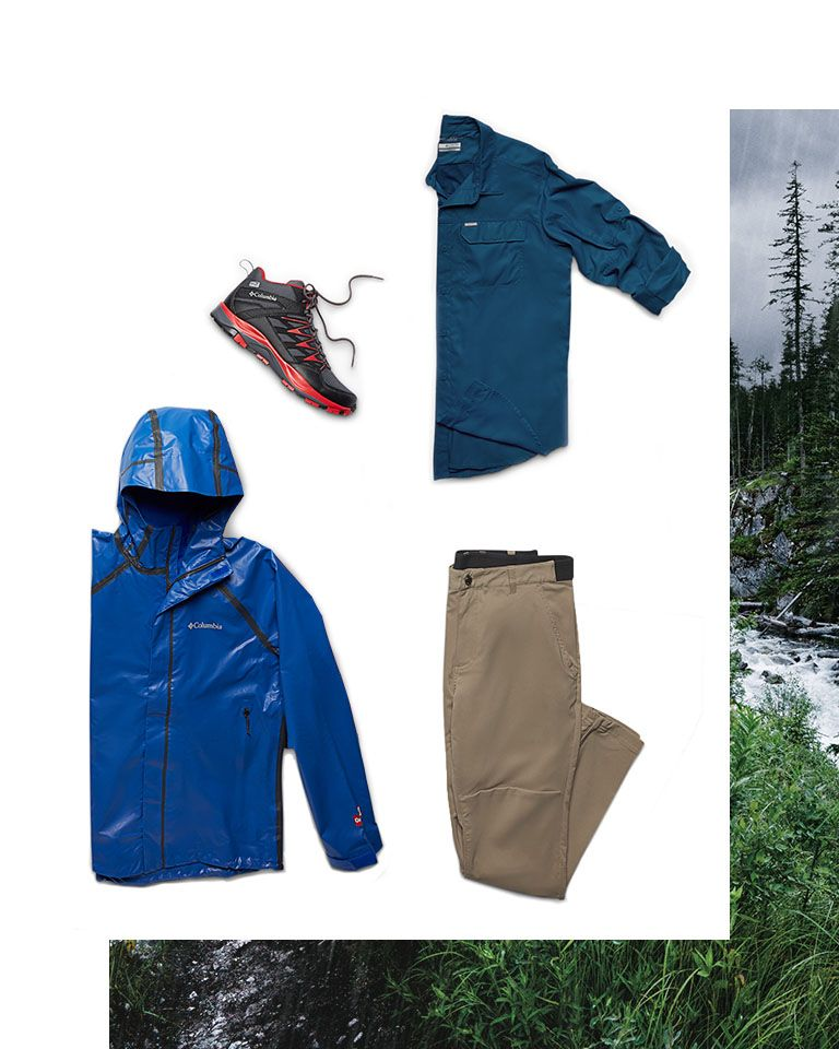 Assorted hiking and trail gear for men.