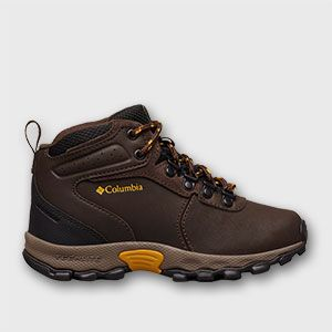 A brown big kids hiking boot.