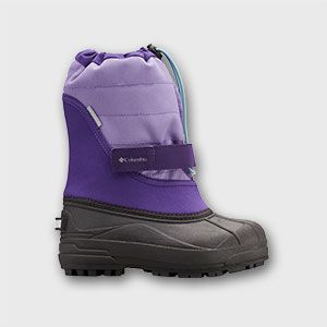 A purple toddlers snow boot.