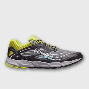 A gray, yellow, and blue trail-running shoe.