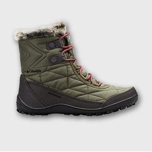 A quilted and fur-lined green boot.