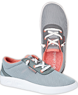 A pair of grey sneakers.