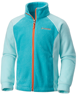 A light blue fleece jacket.