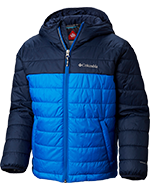 A blue insulated puffy jacket.