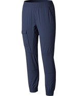 A pair of dark blue pants.
