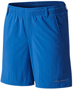 A pair of blue shorts.
