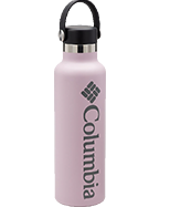 A pink Columbia water bottle.