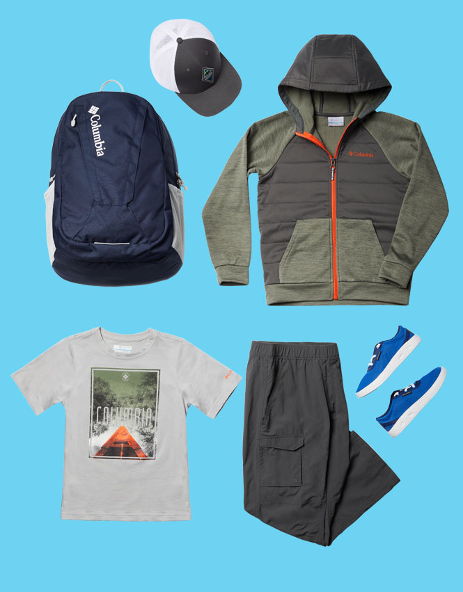 Boy's outfit and accessories on a blue background.
