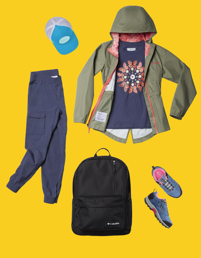 Girl's outfit and accessories on a yellow background.