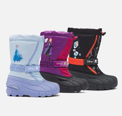Three Frozen 2 kids Flurry boots on a pink background