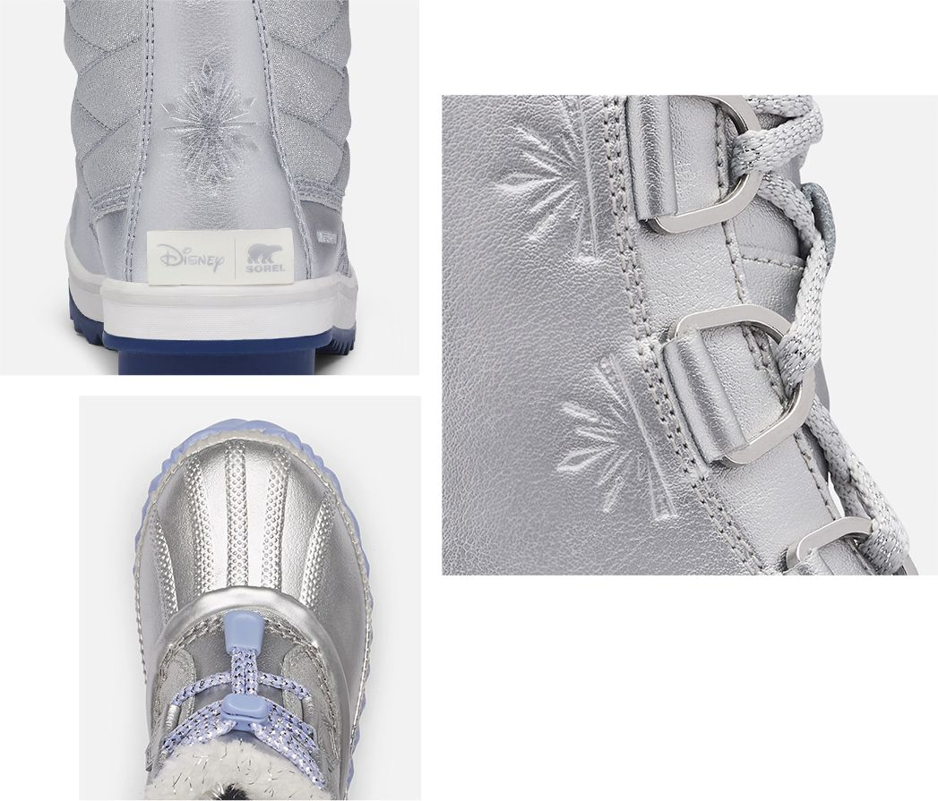 Three different detail shots of a Tofino Frozen 2 inspired boot with blue background