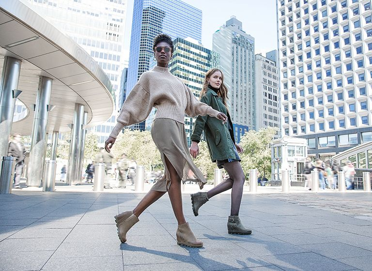 An introduction to our power wedges, women walking through the city wearing wedges